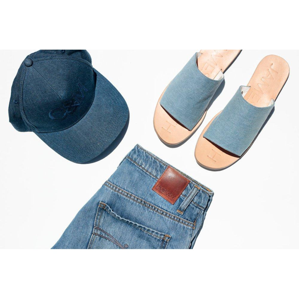 Blue Denim Off Duty Sandals by James Smith