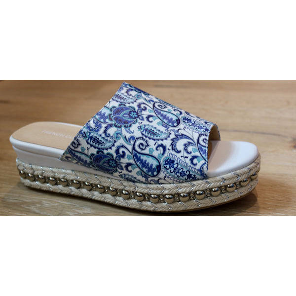Blue Flower Paisley Wedge Sandal French Curve - The Perfect Provenance