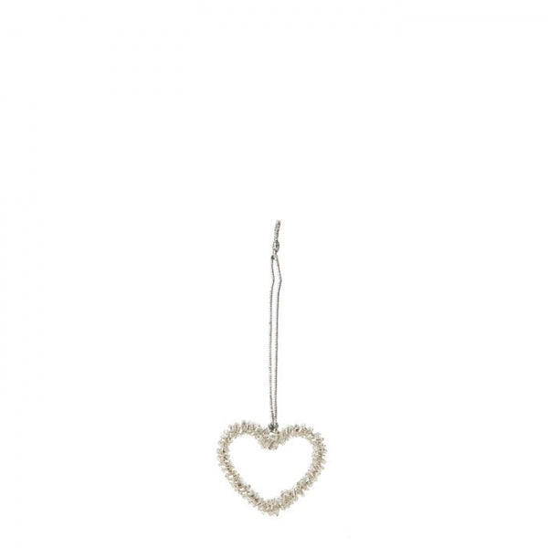 Heart Ornament Made With Light Pearls By Fiorira Un Giardino