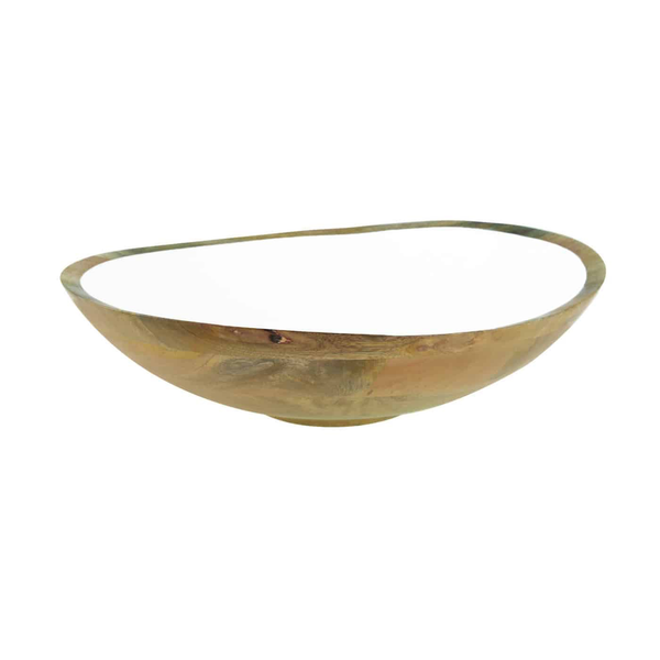 mango wood-white enamel-bowl-be home