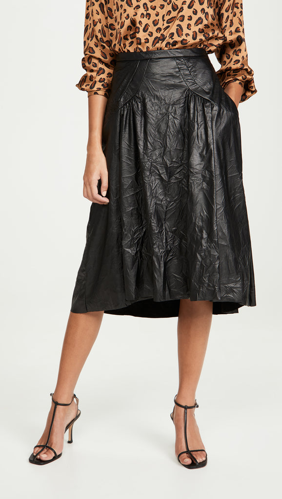 Black Leather Crinkle Skirt by No. 21