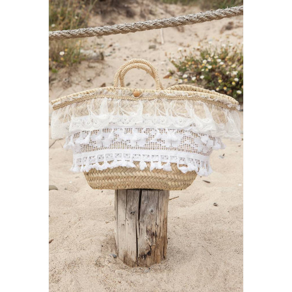 lace trim-beach bag-straw bag-pho firenze