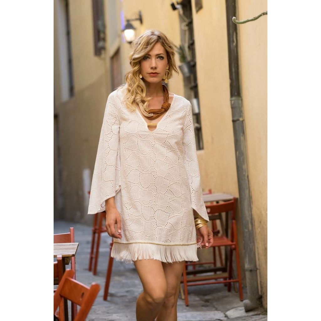 fringe- dress- woven dress- pho firenze