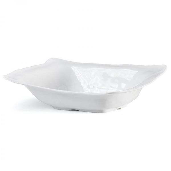 Ruffle White Melamine Rectangle Shallow Serving Bowl by Q Squared - The Perfect Provenance