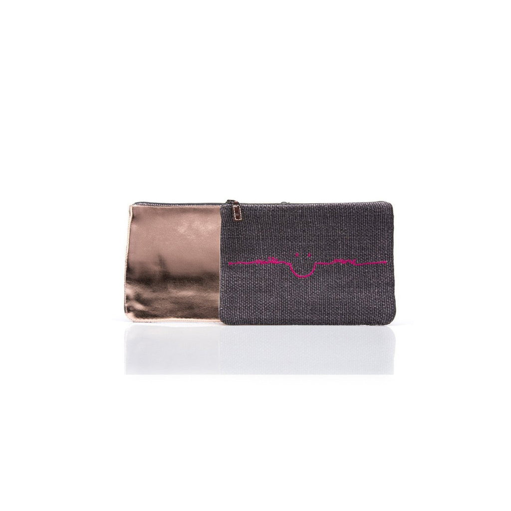 Smile More Make-Up Pouch in Pink or Blue Embroidery