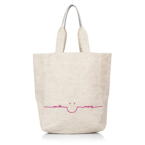 Smile More Tote Bag in Pink or Blue - The Perfect Provenance