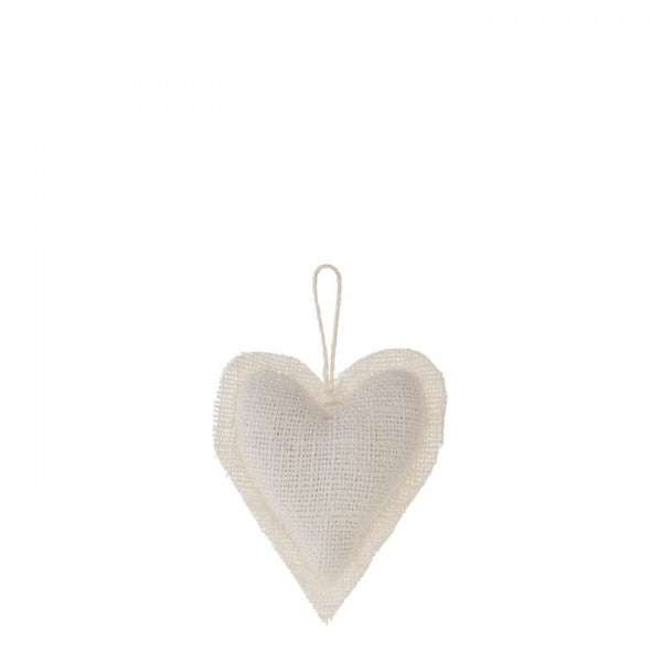 100% Raw White Linen Heart Ornament by Fiorira un Giardino