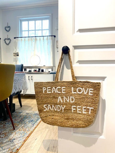 Peace, Love, and Sandy Feet Jute Tote Bag by Sugarboo