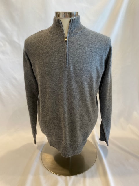 Grey Merino Wool Quarter Zip by Hartford