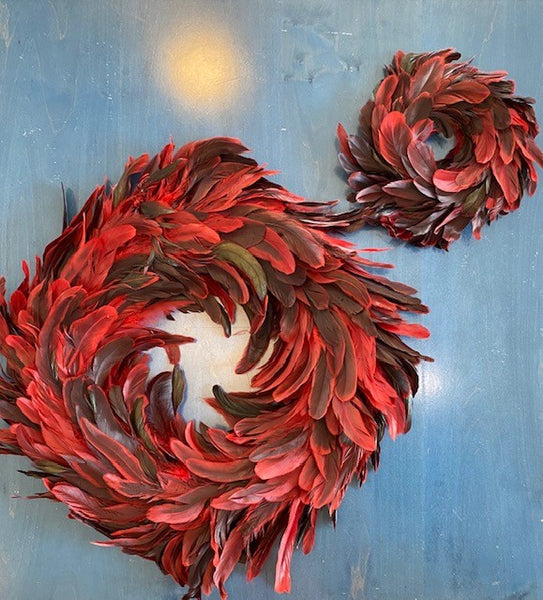 Red Feather Wreath in Two Sizes