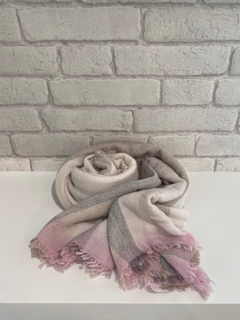Grey & Pink Striped Gauze Scarf by Tessile Officina