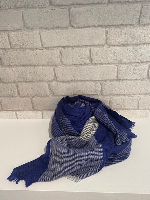 Blue Striped Pied de Poule Scarf by Tessile Officina-