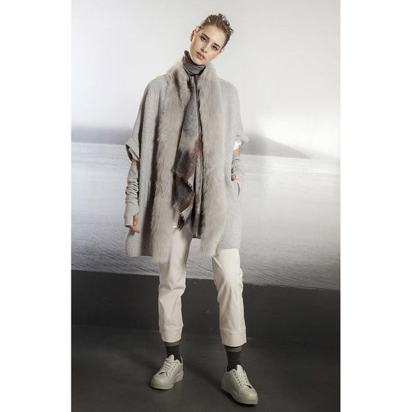Grey Shearling & Cashmere Cardigan By Tonet - The Perfect Provenance