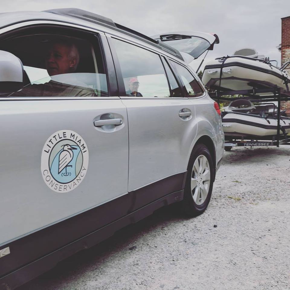 The Little Miami Conservancy and their fleet of Big Shoals Rafts to do conservation work