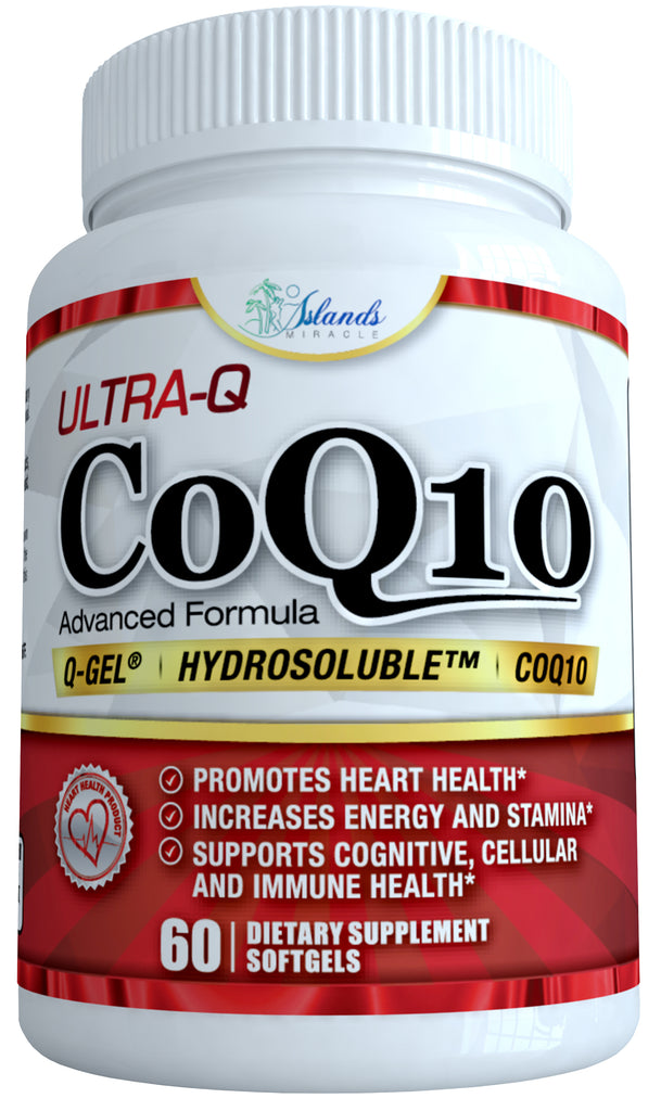 CoQ10 Ultra Absorption – Patented Water and Fat Soluble Hydrosoluble - Best Ubiquinone Coenzyme Q10 100mg capsule 60 Day Supply