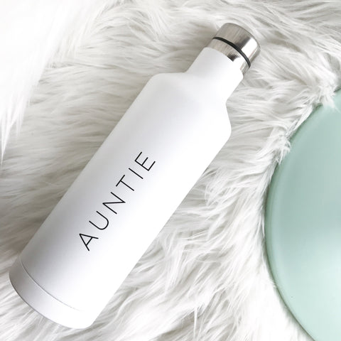 ⋒ Auntie | White Water Bottle