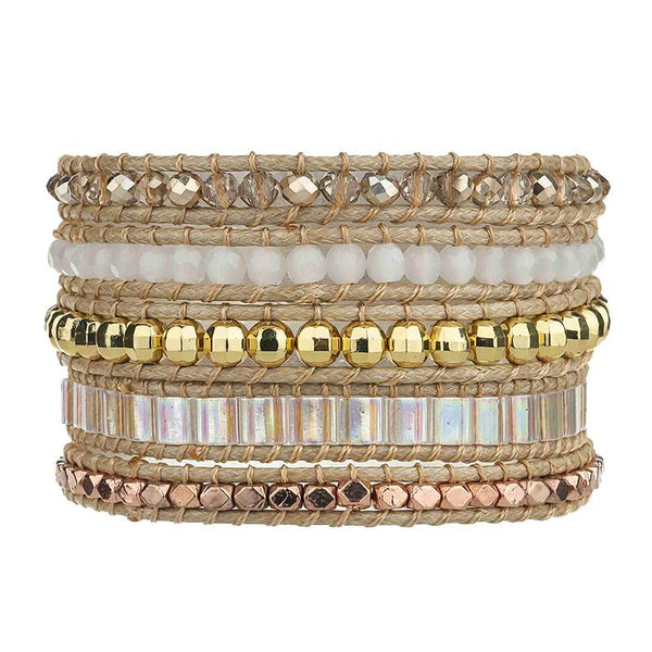 Gold Crystals with Opal Miyuki Beads on Natural Bracelet - Victoria Emerson