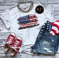 Stars, Stripes and leopard Tee {Pre-order}