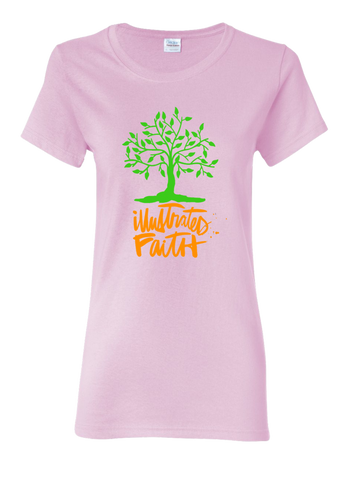 Illustrated Faith Women's Pink T-Shirt.