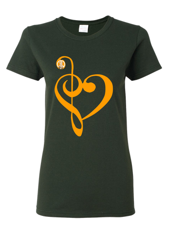 I Love Music PW2 Forest Green Women T-Shirt
