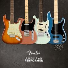 Fender American Performer with three electric guitars and one bass