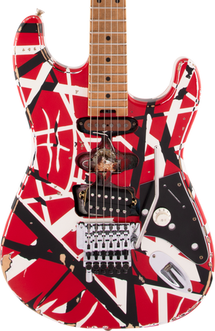 EVH Striped Series Frankie Maple Fingerboard Red w/Black Stripes Relic