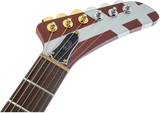 EVH Striped Series Shark Burgundy w/Silver Stripes