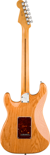 Back of Fender Stratocaster electric guitar in Aged Natural wood Tone Shop Guitars Dallas TX