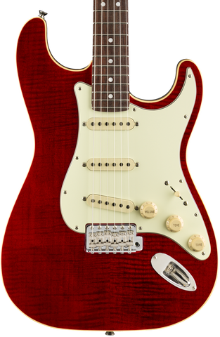 Fender Limited Edition Aerodyne Classic Stratocaster Flame Maple Top RW Crimson Red Transparent w/bag