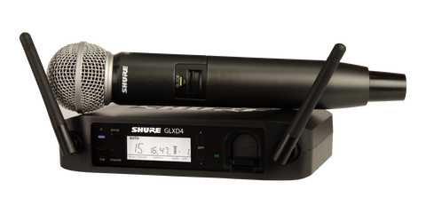 Shure GLXD24/SM58 Vocal System w/GLXD4 Wireless Receiver GLXD2 Handheld Transmitter SM58 Microphone Carrying Case