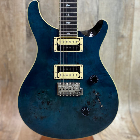 PRS Paul Reed Smith SE Custom 24 Exotic Poplar Burl Whale Blue w/bag