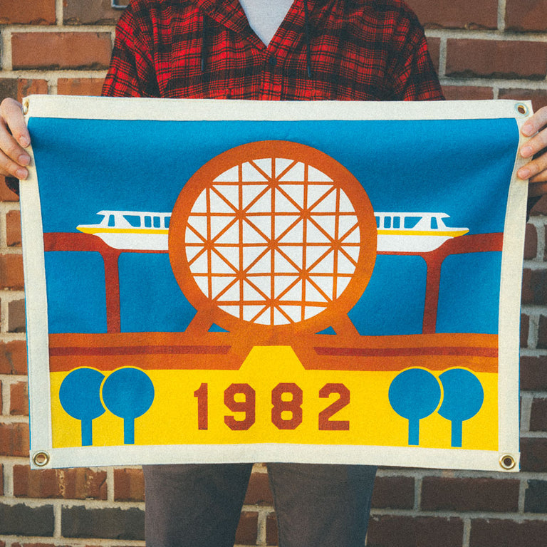 Futurist Theme Park Camp Flag | in hand