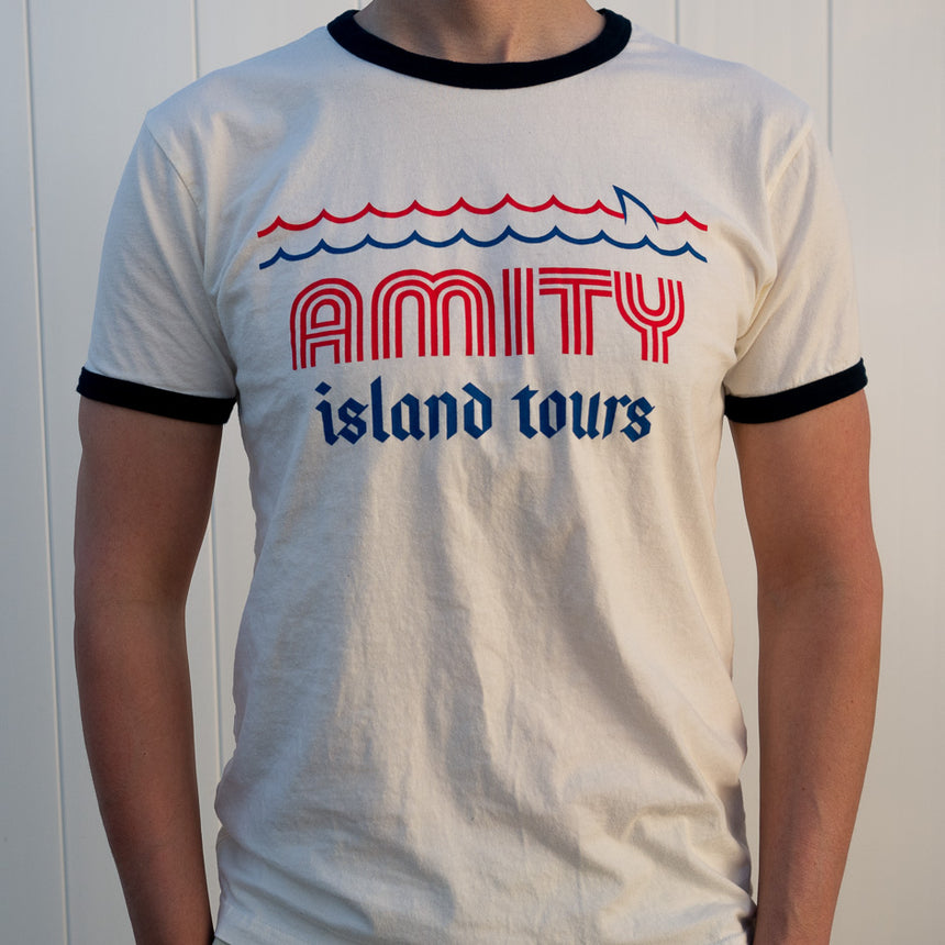 Amity Island Tours Theme Park Attraction T-shirt | Model