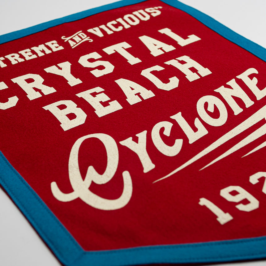 Crystal Beach Cyclone Retro Roller Coaster Banner | Detail