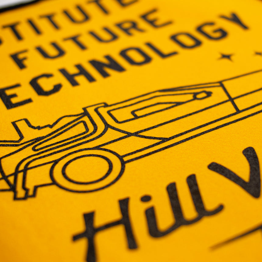 Hill Valley Institute of Future Technology Theme Park Attraction Retro Banner | Detail