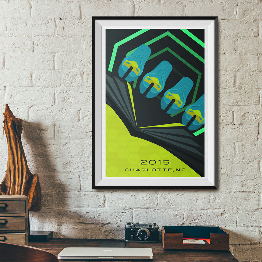 Charlotte, North Carolina 2015 Giga Roller Coaster Poster | On wall