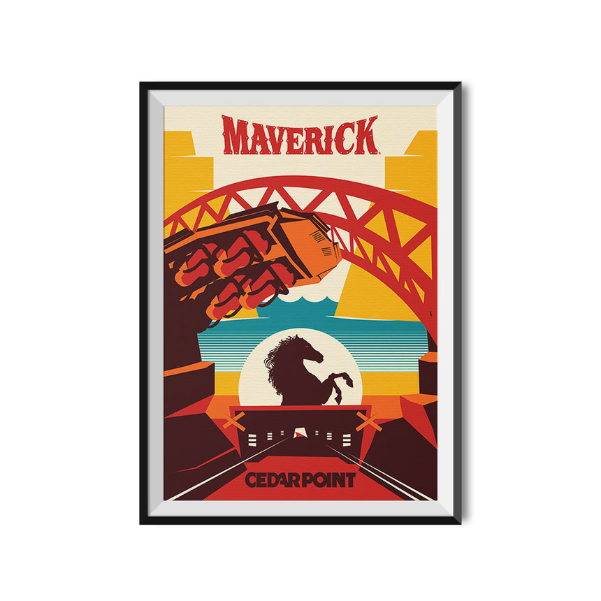 Cedar Point x Made to Thrill Maverick Roller Coaster Poster