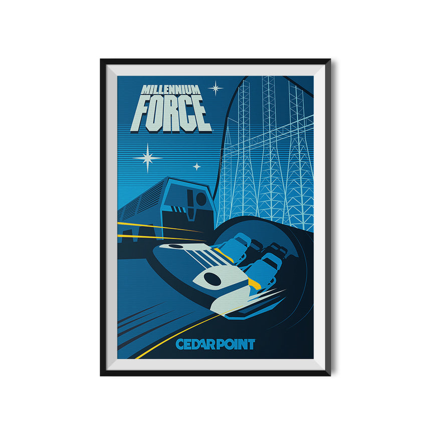 Cedar Point x Made to Thrill Millennium Force Roller Coaster Poster