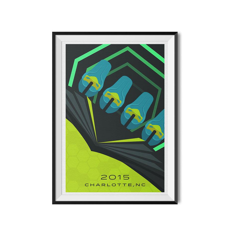Charlotte, North Carolina 2015 Giga Roller Coaster Poster