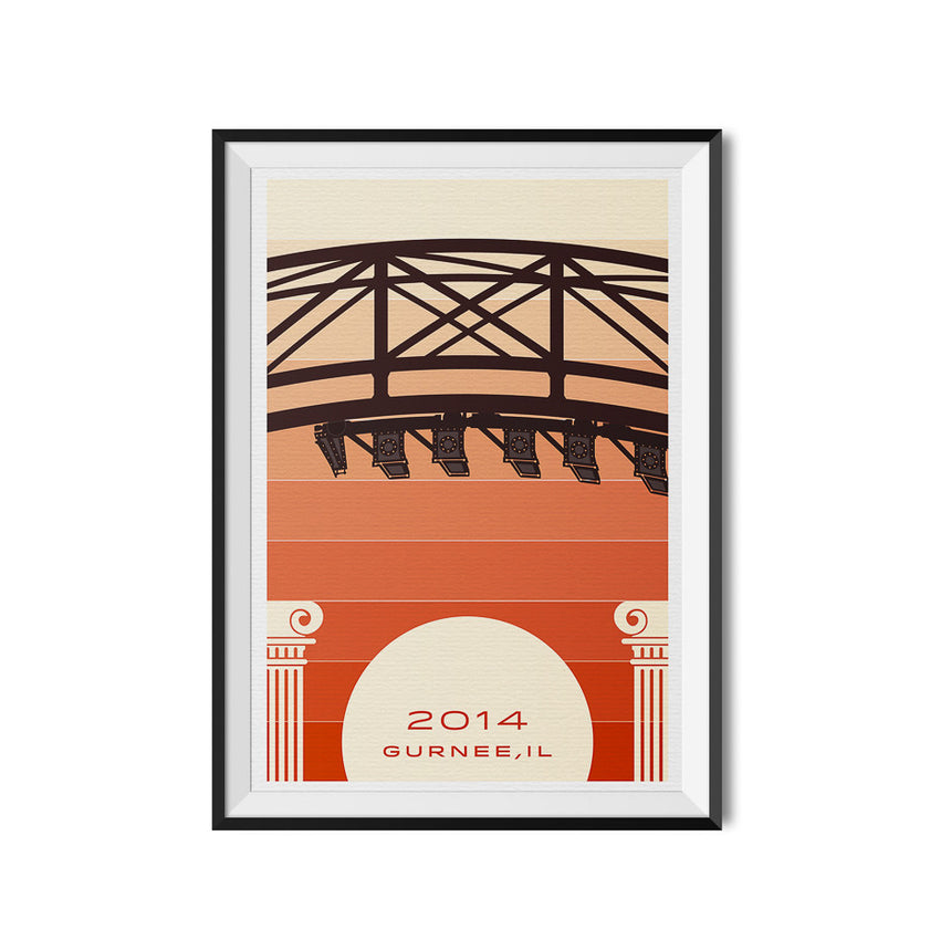 Gurnee, IL. 2014 Roller Coaster Poster