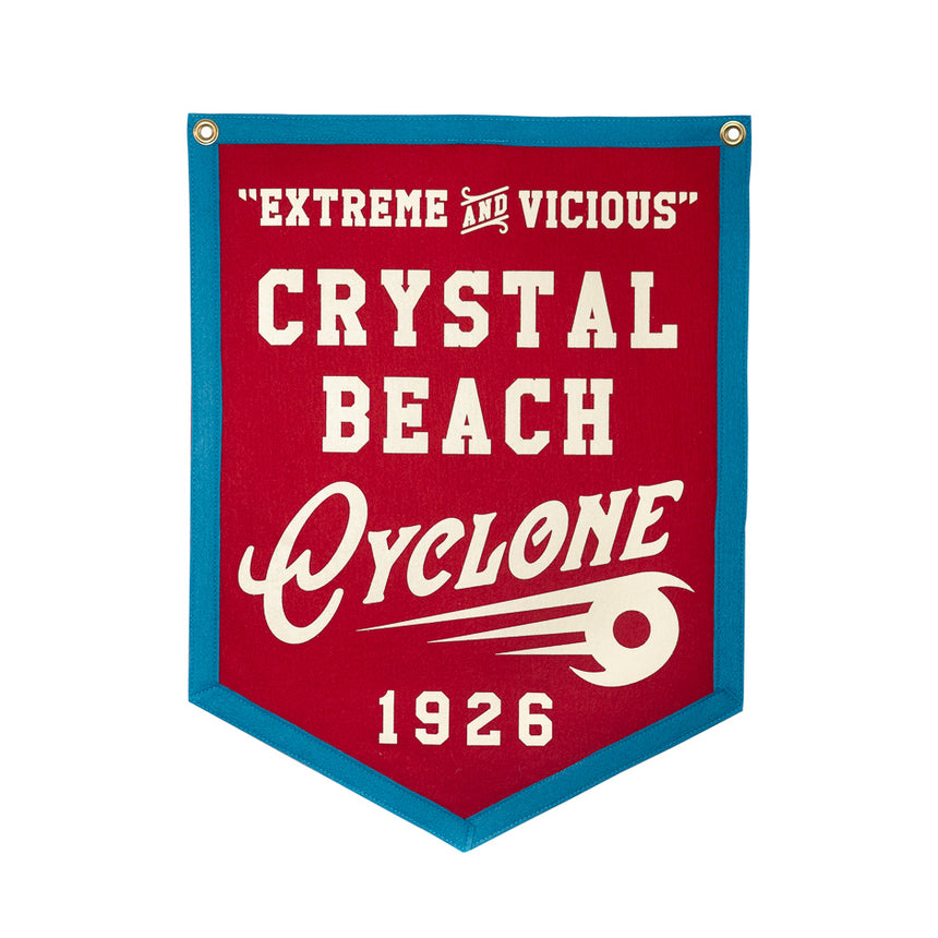 Crystal Beach Cyclone Retro Roller Coaster Banner