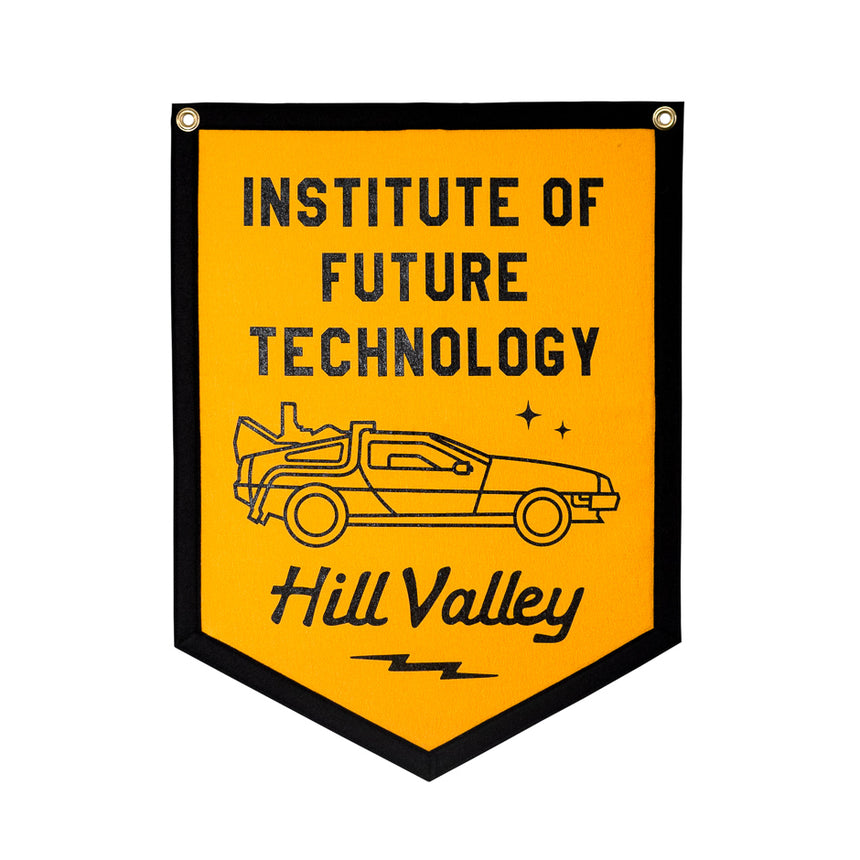 Hill Valley Institute of Future Technology Theme Park Attraction Retro Banner