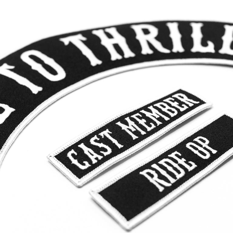 Made to Thrill Biker Patch Kit | Cast member | Ride Op | RMC patches | Detail