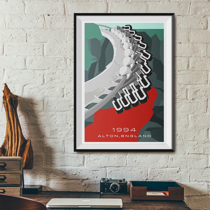 Alton, England 1994 Roller Coaster Poster | Office