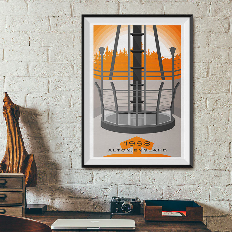 Alton, England 1998 Dive Machine Roller Coaster Poster | Office