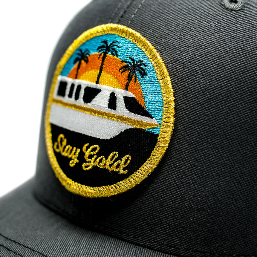Stay Gold Monorail Trucker Hat Charcoal | Detail