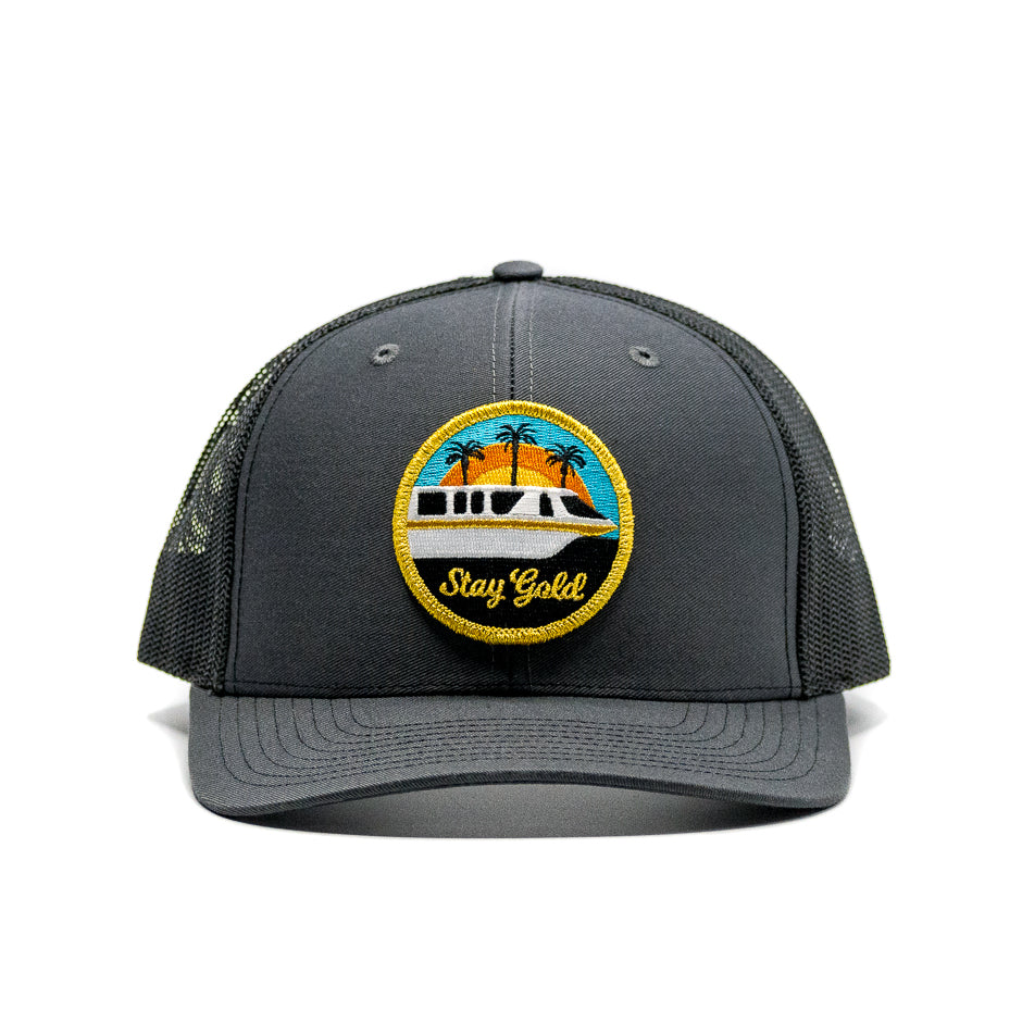 Stay Gold Monorail Trucker Hat Charcoal | Front