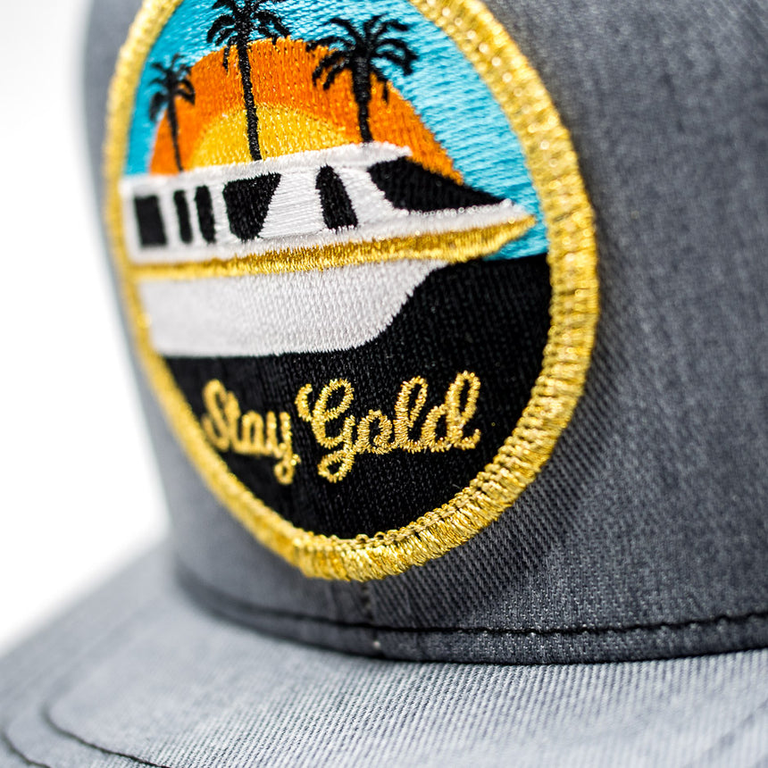 Stay Gold Monorail Trucker Hat Gray | Detail