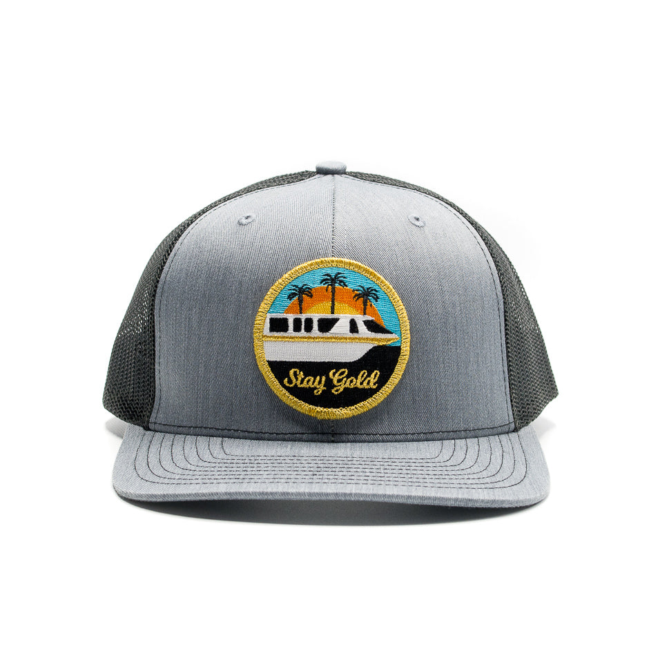 Stay Gold Monorail Trucker Hat Gray | Front