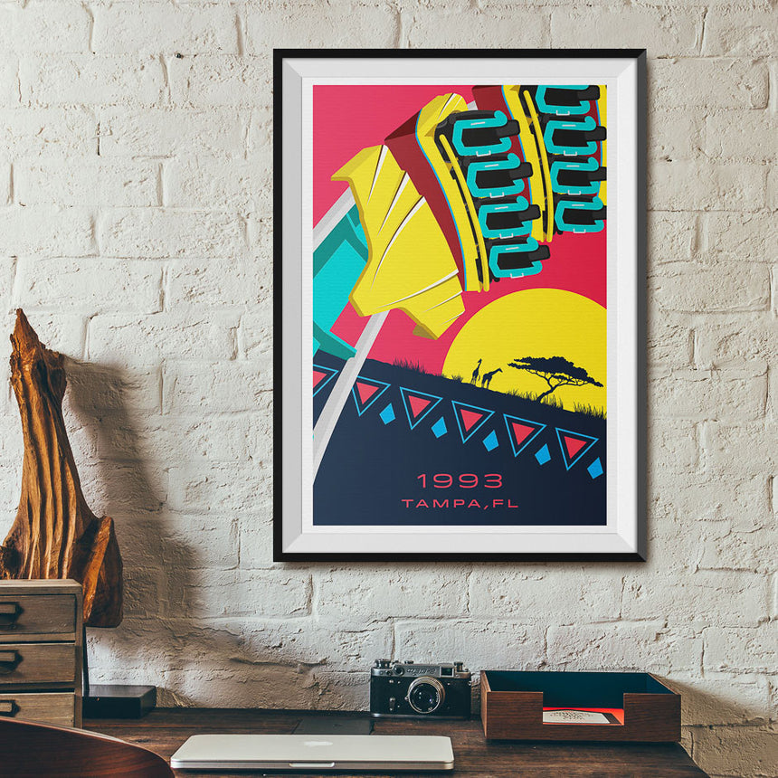 Tampa, FL. 1993 Roller Coaster Poster | Office